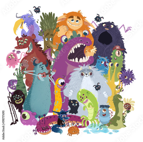 potwory-ilustracja-dziecieca-roznokolorowe-stworki