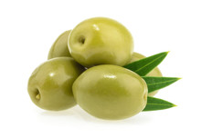Green Olives Isolated On White...