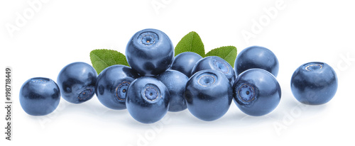 Leinwand Poster Blueberries isolated on white background