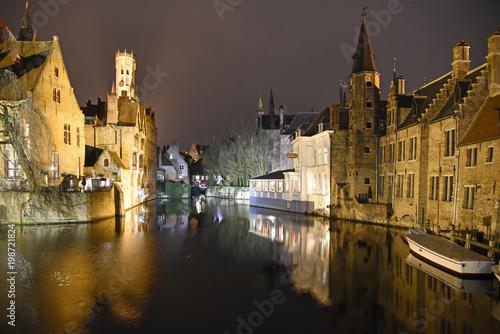 Deurstickers Brugge Brügge bei Nacht