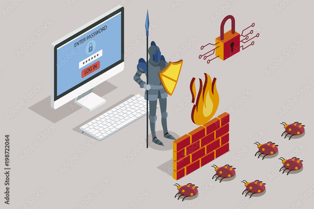 Fototapeta Security data protection with firewall