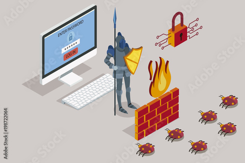 Fotografía  Security data protection with firewall
