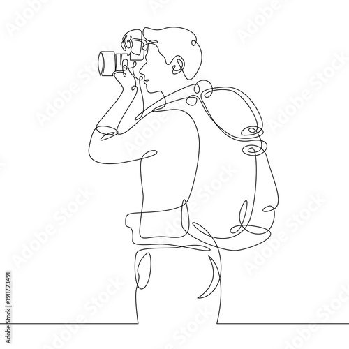 Foto  Continuous single one drawn line of the tourist character tourist photographer w