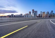 Empty Road With Modren Building