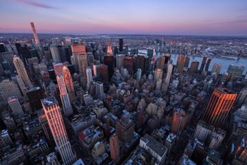 Fototapeta Aerial view of Midtown Manhattan skyscrapers at Sunset, Murray Hill, New York City