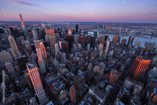 Photo  Aerial view of Midtown Manhattan skyscrapers at Sunset, Murray Hill, New York Ci