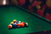 Close Up Of Group Of Billiard ...