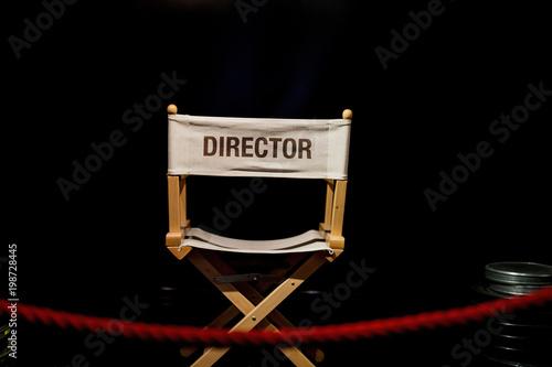 Obraz na plátne closeup of record chair with black background copia