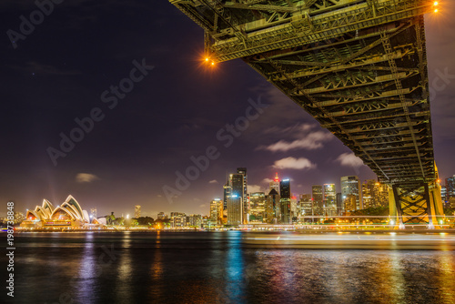 Sydney city skyline at night Poster