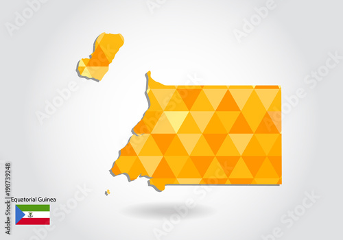 Geometric polygonal style vector map of equatorial Guinea. Low poly ...