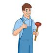 Cartoon plumber holding plunger. Vector illustration