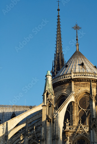 Flying Buttresses at the east end of Notre Dame Cathedral, Paris, France Tapéta, Fotótapéta