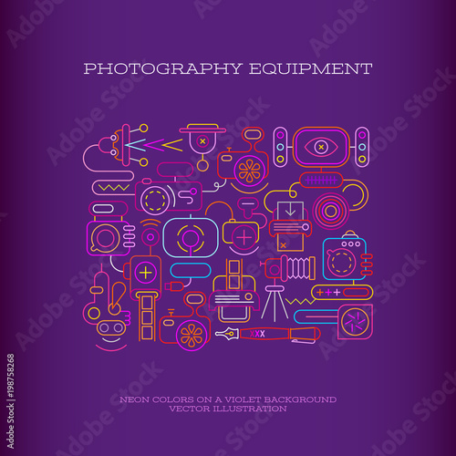 Foto op Canvas Abstractie Art Photography Equipment vector banner