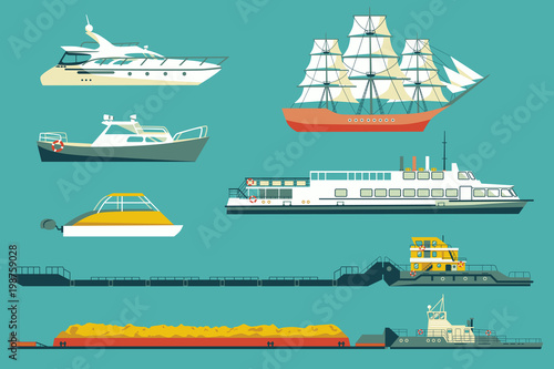 Set of isolated industrial tugs and passenger boats and yachts icons Canvas Print