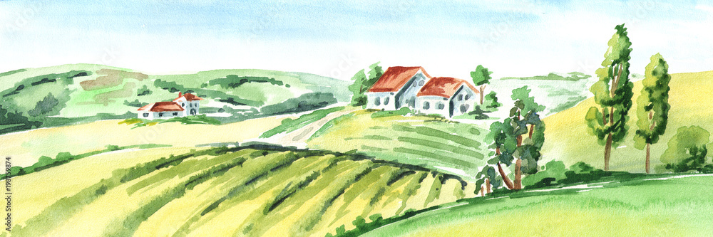 Fototapeta Old farm and fields in countryside. Watercolor hand drawn horizontal illustration