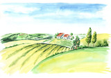 Old farm and fields in countryside. Watercolor hand drawn illustration