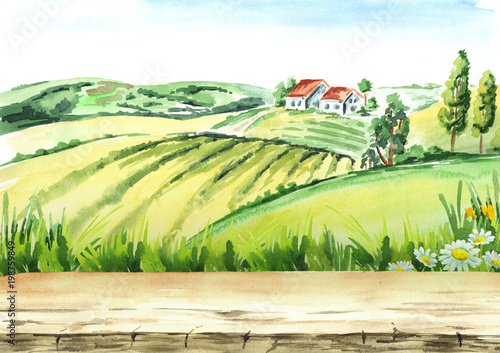 Deurstickers Wit Old farm and fields in countryside with empty table as background. Watercolor hand drawn illustration