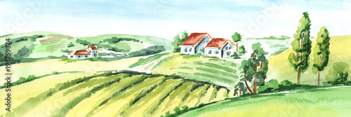 Old farm and fields in countryside. Watercolor hand drawn horizontal illustration