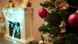 Close up of Christmas tree and electric fireplace out of focus