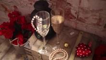 Beads, Wine Glasses, Red Flowe...