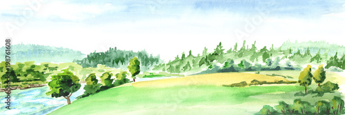 Fototapeta Rural landscape with river. Watercolor hand drawn horizontal illustration obraz