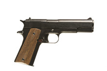 Pistol On White Background With 1911 Colt. Isolated