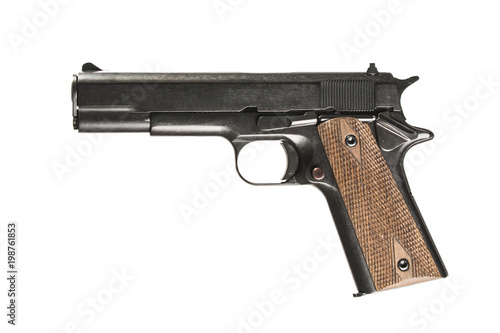 Fototapeta pistol on white background with 1911 colt. Isolated