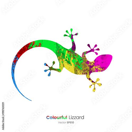 Naklejka premium Kolorowe ikony zwierząt - jaszczurka