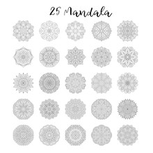 Twenty Five Flower Circular Mandala For Adults. Coloring Book Page Design. Anti Stress Black White Vintage Decorative Element.Monochrome Oriental Ethnic Pattern.Hand Drawn Isolated Vector Illustration