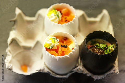 eggs stuffed with salmon, asparagus and truffle