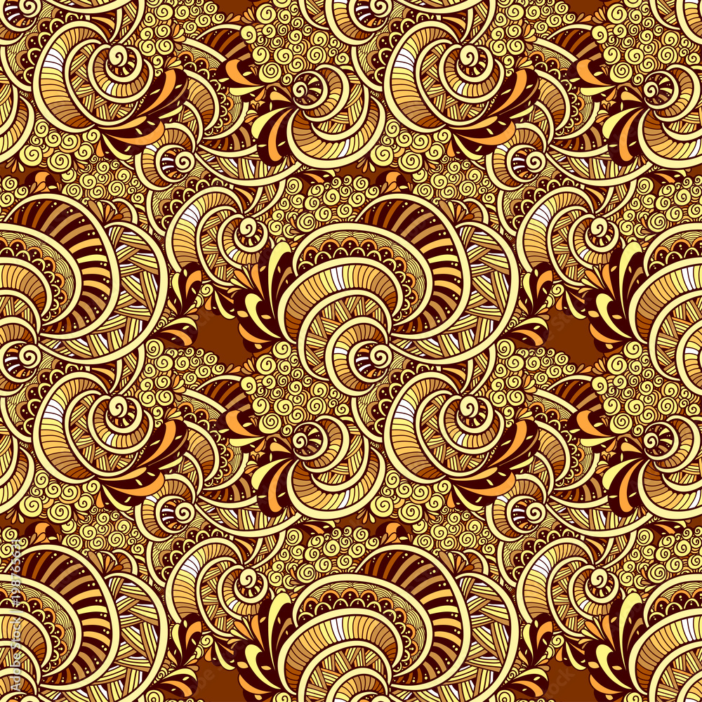 Abstract Zen tangle Zen doodle marine seamless pattern from shells gold for decoration clothes package   or for print and others