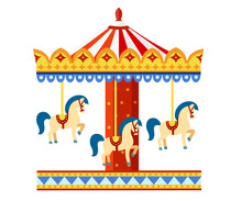 Colorful Carousel With Horses. Amusement Park Concept. Vector Illustration Isolated On White Background. Website Page And Mobile App Design