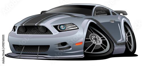 Modern American Muscle Car Cartoon Vector Illustration Buy This