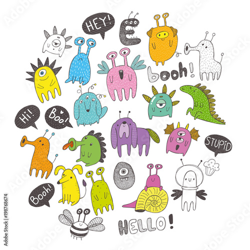 Funny vector monsters with words