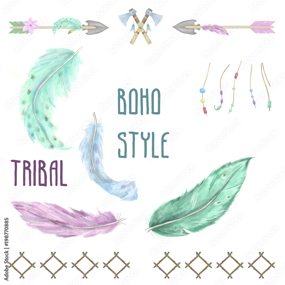 Watercolor feathers boho style clip art