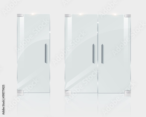 Glass doors, in a boutique office or shop. Vector illustration for architect projects. Fototapete