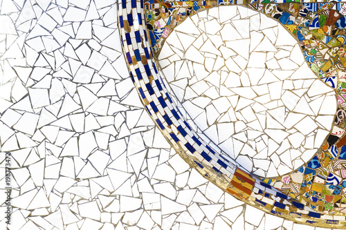 Modernist mosaic detail of a Barcelona architecture Canvas Print