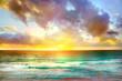 Sunset in Cancun beach. Mexico, zone hotelera