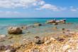 Blue sea water on Firiplaka Beach, Milos island. Cyclades, Greece.