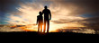 canvas print picture - father and son at sunset