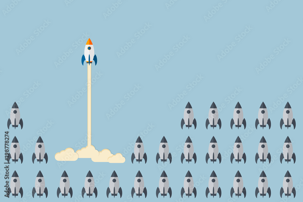 Fototapety, obrazy: Think differently - Being different, taking risky, move for success in life -The graphic of rocket also represents the concept of courage, enterprise, confidence, belief, fearless, daring,