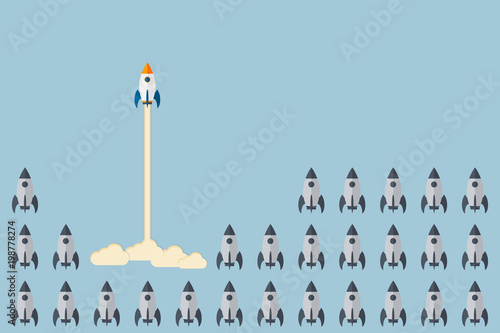 Obraz Think differently - Being different, taking risky, move for success in life -The graphic of rocket also represents the concept of courage, enterprise, confidence, belief, fearless, daring, - fototapety do salonu