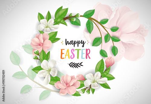 Fotografía  Happy Easter lettering in flower wreath