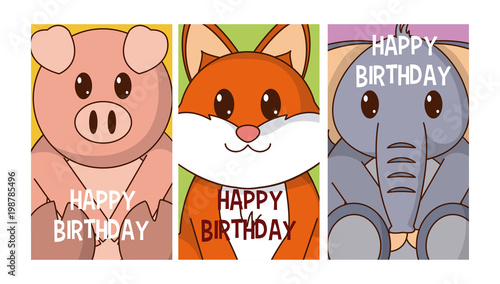 Set Of Birthday Cards With Animals