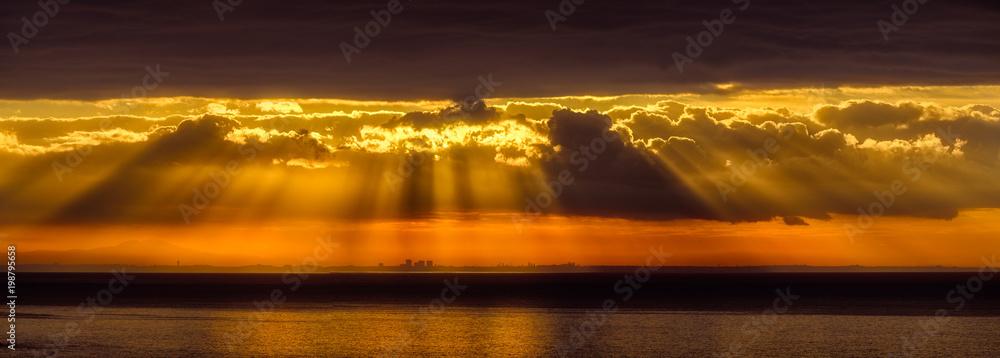 Fototapety, obrazy: Panorama of dramatic sunrise over the Los Angeles skyline