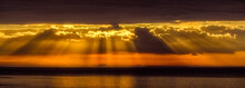 Panorama Of Dramatic Sunrise Over The Los Angeles Skyline