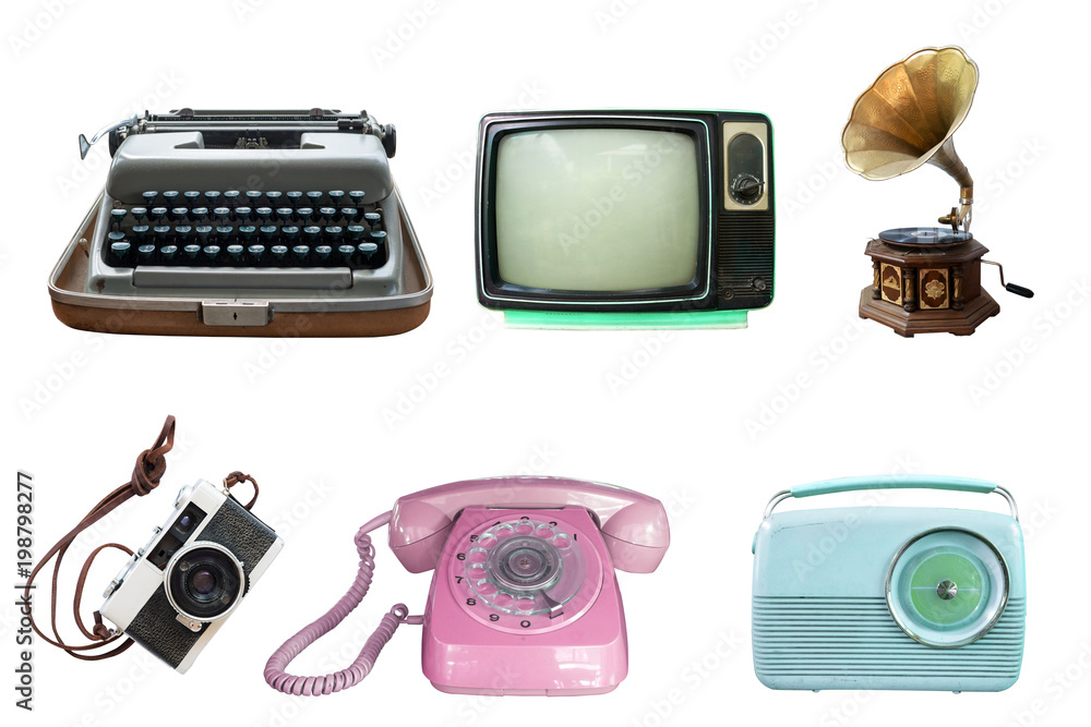 Fototapeta Collection of vintage retro technology related - clipping path objects isolated on white background.