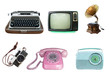 canvas print picture - Collection of vintage retro technology related - clipping path objects isolated on white background.