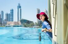 Fashionable Girl Enjoying View At Dubai Mall