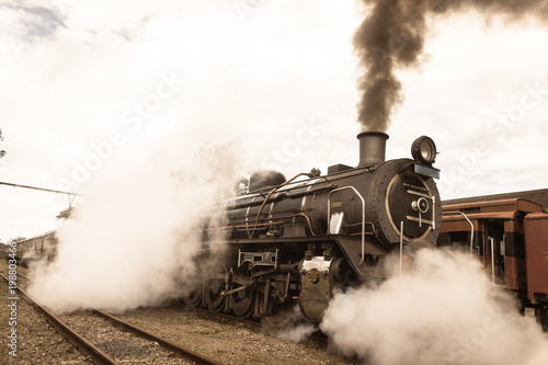 Fototapeta Steam Train Locomotive Closeup Exhausts Vintage obraz na płótnie